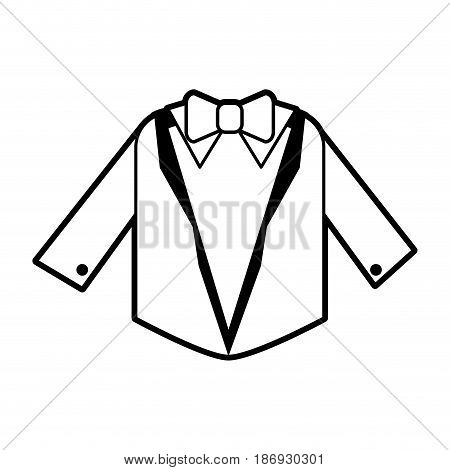sketch silhouette image wedding suit male jacket with bowtie vector illustration