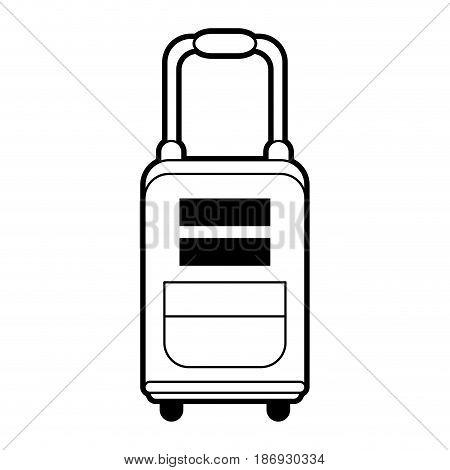 sketch silhouette image travel suitcase with handle vector illustration