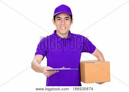 Smiling delivery man giving clipboard on white background