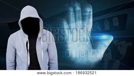 Digital composite of Grey jumper hacker, hand scan