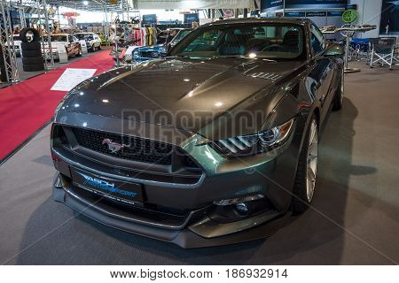 STUTTGART GERMANY - MARCH 03 2017: Pony car Ford Mustang GT V8 Fastback Coupe 2016. Europe's greatest classic car exhibition