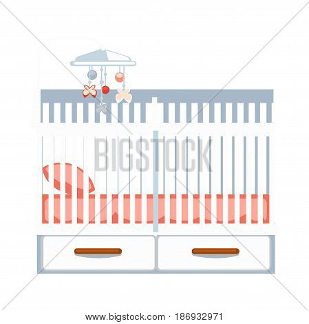 Crib with two drawers and hanging rattle isolated on white. Vector colorful illustration in flat design of part of room for baby sleeping with pink mattress and pillow. Furniture for children