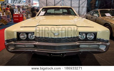 STUTTGART GERMANY - MARCH 03 2017: Full-size personal luxury car Mercury Marauder X-100 1969. Europe's greatest classic car exhibition