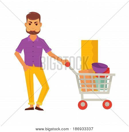 Bearded cartoon man in purple shirt and yellow trousers stands and holds cart full of interior items, like wallpaper and colorful decorative bowls isolated vector illustration on white background.