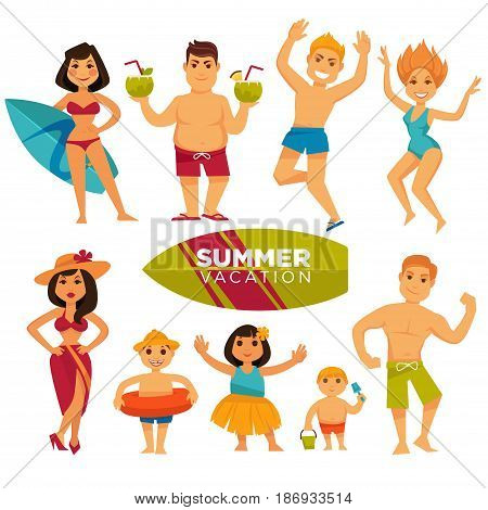 People wearing swimsuits spend summer holidays. Vector colorful illustration in flat design of men and women with children jumping, dancing, holding cocktails or surfing board and posing on camera