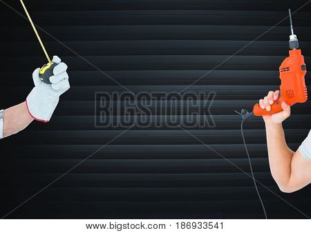 Digital composite of Hand drill and hand with meter in front of blind
