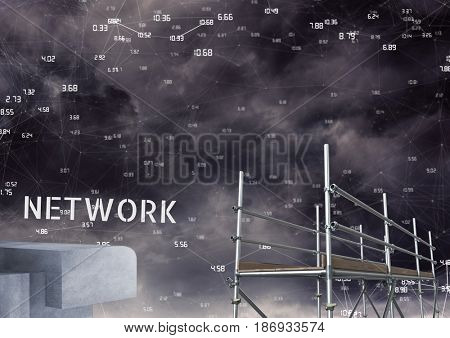 Digital composite of Network Text with 3D Scaffolding and technology numbers connecting interface