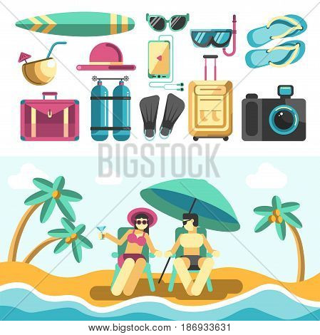 Man and woman in swimsuits spending summer holidays on beach near sea and palm trees, collection of colorful vacation things above isolated on white. Hot season time template vector illustration