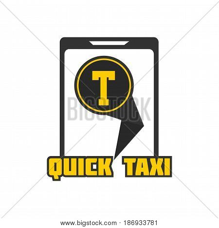 Quick taxi mobile application sign in smartphone, logo design vector illustration isolated on white. Fast delivery transport company mobile phone app in flat style, logotype for transportation firm