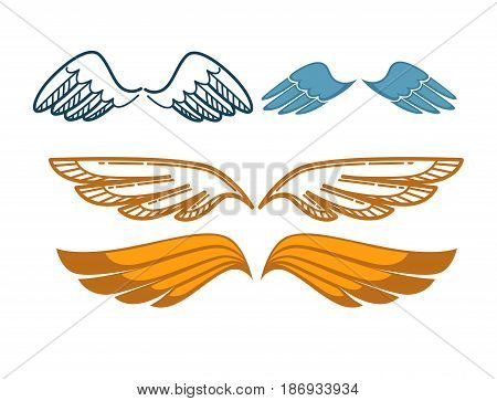Gorgeous wings set isolated on white background. Angel gold and blue wing collection. Vector illustration of sweeping and uplifts feather elements. Symbol of win, reliable protection and freedom.