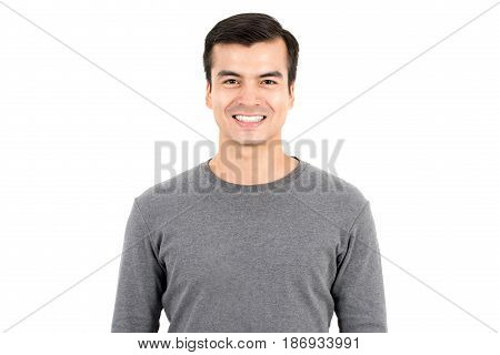 Portrait of happy smiling man wearing casual t-shirt isolated on white background