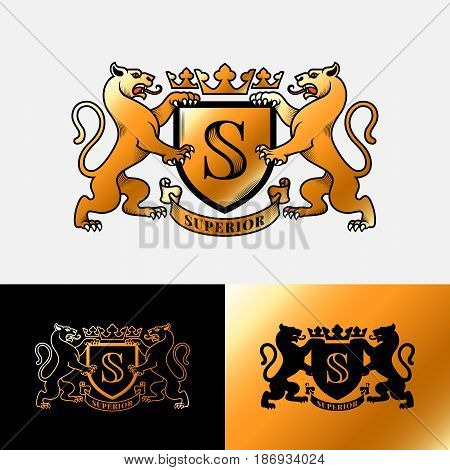 Luxury heraldic emblem with two panthers in vintage style. Vector illustration.