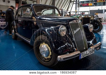 STUTTGART GERMANY - MARCH 03 2017: Small family car Lancia Ardea Berlina 1949. Europe's greatest classic car exhibition