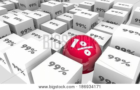 One Percent 1 Vs 99 Majority Minority Different Outlier 3d Illustration