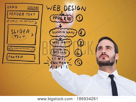 Digital composite of Business man reaching with marker and flare against website mock up and yellow background