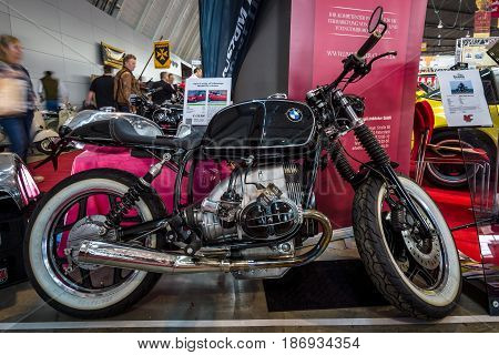 STUTTGART GERMANY - MARCH 03 2017: The motorcycle BMW R100 Cafe Racer 1991. Europe's greatest classic car exhibition