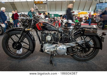 STUTTGART GERMANY - MARCH 03 2017: The motorcycle Tornax III-30 1930. Europe's greatest classic car exhibition