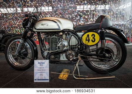 STUTTGART GERMANY - MARCH 03 2017: Racing motorcycle Norton Manx 1951. Europe's greatest classic car exhibition