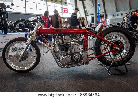 STUTTGART GERMANY - MARCH 03 2017: Motorcycle Triumph Dragster Hagon 1970. Europe's greatest classic car exhibition