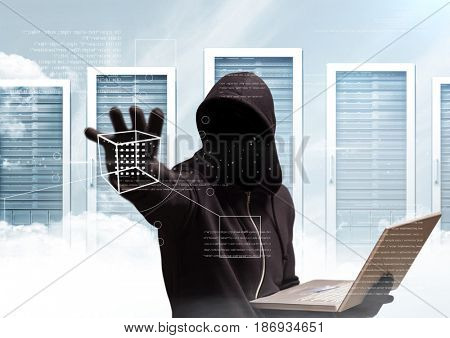 Digital composite of Black jumper hacker with out face sit with the computer. server background