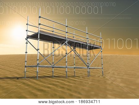 Digital composite of Binary code in desert with 3D Scaffolding