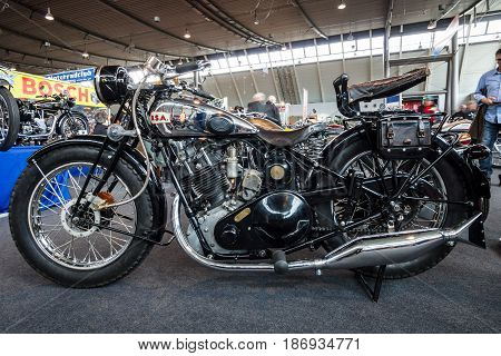 STUTTGART GERMANY - MARCH 03 2017: Motorcycle BSA Sloper 1931. Europe's greatest classic car exhibition
