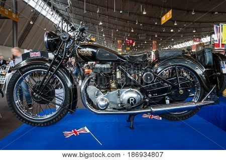 STUTTGART GERMANY - MARCH 03 2017: Motorcycle Rudge Special Whitworth 1936. Europe's greatest classic car exhibition