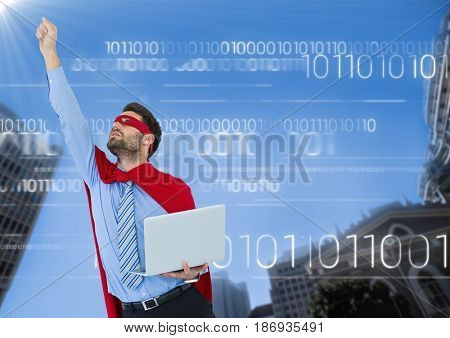 Digital composite of Business man superhero with laptop and hand in air against buildings and sky with white binary code