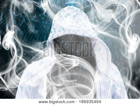 Digital composite of Foreground of grey jumper hacker with out face