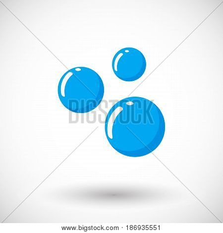 Soap or water bubble icon Flat design of cleaning symbol with round shadow vector illustration
