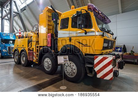 STUTTGART GERMANY - MARCH 03 2017: Heavy duty truck Mercedes-Benz 4850 AS 8x8 1985. Europe's greatest classic car exhibition