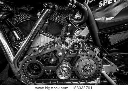 STUTTGART GERMANY - MARCH 03 2017: Engine of the world's biggest motorcycle Leonhardt Gunbus 410. Black and white. Europe's greatest classic car exhibition