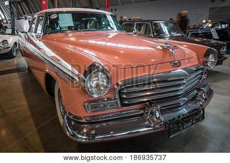 STUTTGART GERMANY - MARCH 03 2017: The full-size car Chrysler Windsor 1956. Europe's greatest classic car exhibition