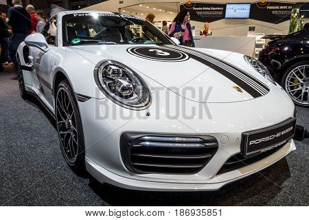 STUTTGART GERMANY - MARCH 03 2017: Sports car Porsche 911 Turbo S 2016. Europe's greatest classic car exhibition