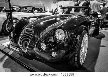 STUTTGART GERMANY - MARCH 03 2017: Roadster Wiesmann MF3 1998. Black and white. Europe's greatest classic car exhibition