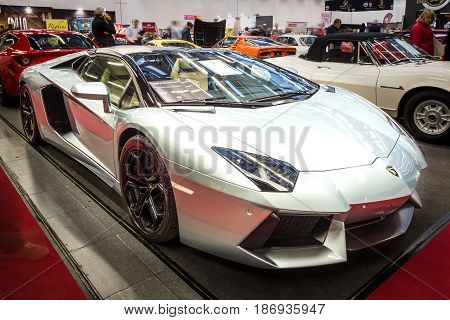 STUTTGART GERMANY - MARCH 03 2017: Sports car Lamborghini Aventador LP 700-4 2014. Europe's greatest classic car exhibition