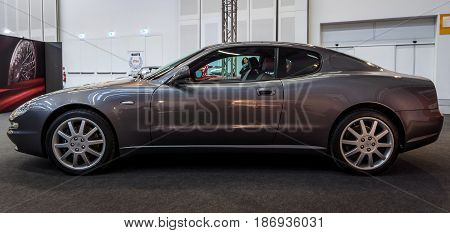 STUTTGART GERMANY - MARCH 03 2017: Grand Tourer car Maserati Coupe (Tipo M138) 2005. Europe's greatest classic car exhibition
