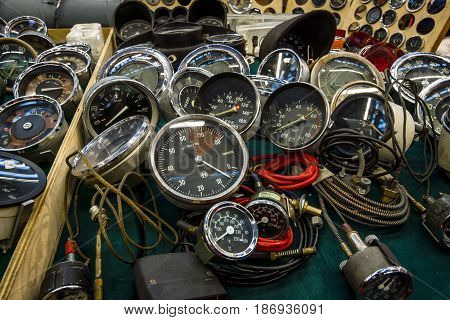 STUTTGART GERMANY - MARCH 03 2017: The point of sale of speedometers tachometers and odometers for vintage cars. Europe's greatest classic car exhibition