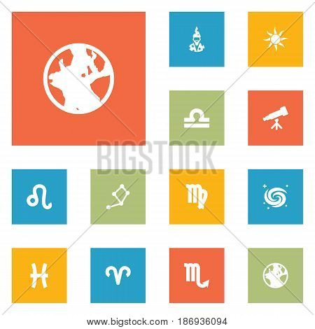 Set Of 12 Horoscope Icons Set.Collection Of Lion, Ram, Binoculars And Other Elements.