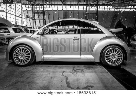 STUTTGART GERMANY - MARCH 03 2017: Subcompact Volkswagen Beetle RSI 2002. Black and white. Europe's greatest classic car exhibition