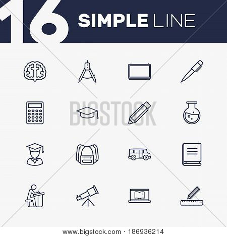 Set Of 16 Science Outline Icons Set.Collection Of School Board, Test Tube, Ruler And Other Elements.
