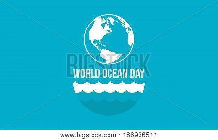 Banner style world ocean day vector flat collection stok