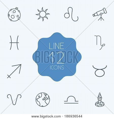 Set Of 12 Galaxy Outline Icons Set.Collection Of Libra, Telescope, Aries And Other Elements.