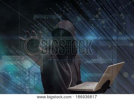 Digital composite of Black jumper hacker with out face sit with the computer