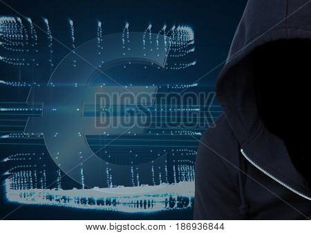 Digital composite of Dark blue jumper hacker with out face. Foreground. Computer and \x80 background