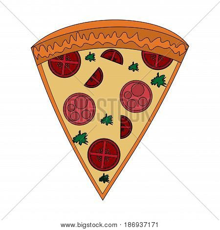 color image cartoon slice pizza of pepperoni vector illustration