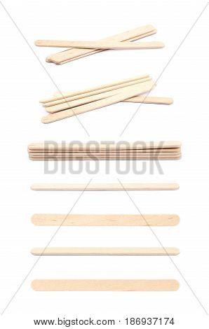 Medical test wooden stick isolated over the white background, set of multiple different foreshortenings