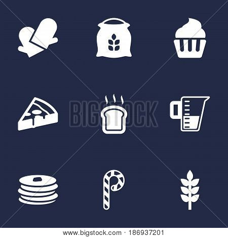 Set Of 9 Cook Icons Set.Collection Of Pepperoni, Muffin, Sack And Other Elements.