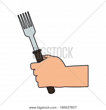 color image cartoon hand holding a fork ready to eat vector illustration