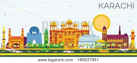 Karachi Skyline with Color Landmarks and Blue Sky. Business Travel and Tourism Concept with Historic Buildings. Image for Presentation Banner Placard and Web Site.